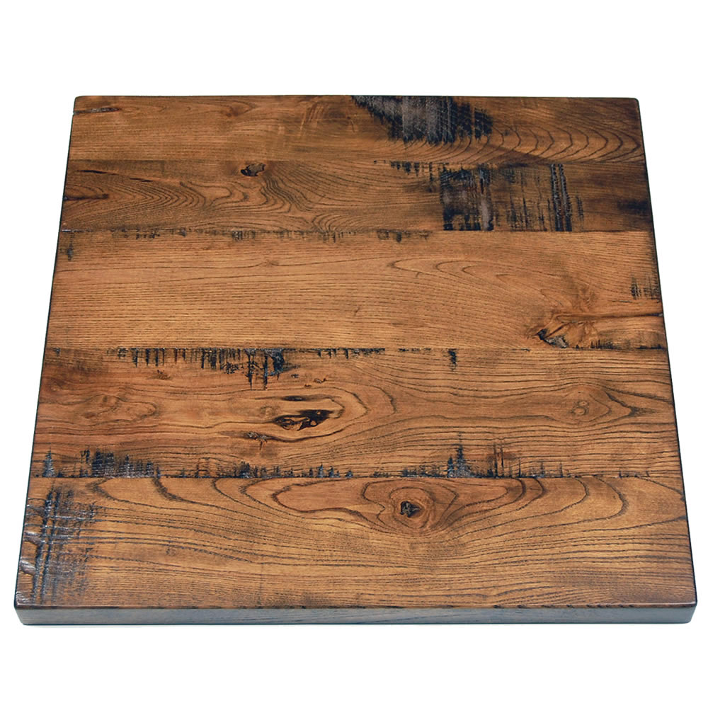 Distressed Ash Plank Top With Light Walnut Stain Table