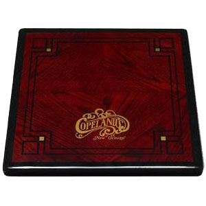 Digitally Printed Customers Logo / Design on Diamond Box Stained Oak Veneer with Black Painted Wood Edge