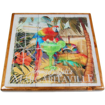 Digitally Printed Margaritaville Image with Stained Pine Wood Edge