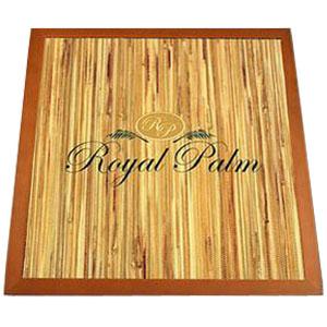 Digitally printed logo on digitally printed grass wallpaper with maple wood edge