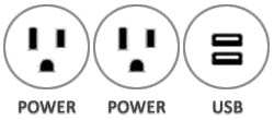 Eclipse in-surface power schematic 2 Power Outlets 1 USB