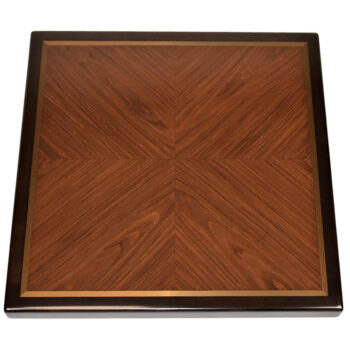 "Rosewood Veneer in Box Pattern with ½"" Metal Accent Inlay and Stained Maple Wood Edge"