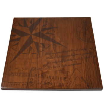 Walnut Veneer Self Edge Table Top with Digital Print provided by Customer