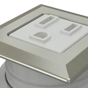 Square Satin Nickel, White Simplex