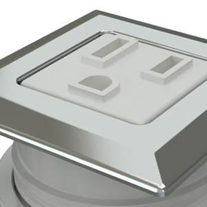 Square Trivalent Chrome, White Simplex