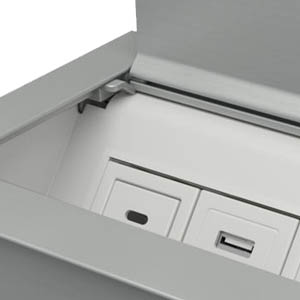 Ellora-Silver Anodized Aluminum and White Trim