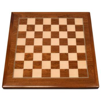 Digitally Printed Chess Checkers Board on Mahogany Veneer with Mahogany Wood Edge