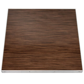 "Formica ""Wenge Strand"" Laminate with Mitered Brushed Aluminum Edge"