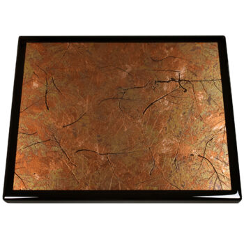 Patina Autumn Leaves Metal Inlay with a Black Painted Maple Wood Edge
