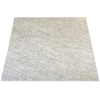 "Formica ""Carrara Bianco"" Laminate Self-Edge Custom Restaurant Table Top"