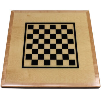 Maple Veneer Custom Table Top with Black Checkerboard Print and Maple Wood Edge