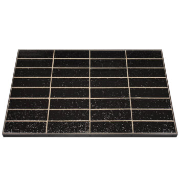 Glazed Black Brick Tile and Grout with Black Powder Coated Aluminum