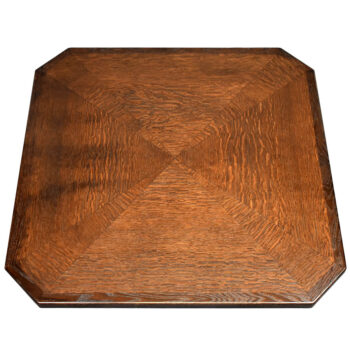 Rift Cut Red Oak Veneer inlay in Custom Pattern and Red Oak Wood Edge and Custom Stain