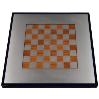 "Digitally Printed Cherry Chess Board on Wilsonart Satin Brushed Aluminum Inlay with Rustoleum ""Navy Blue"" Painted Edge"